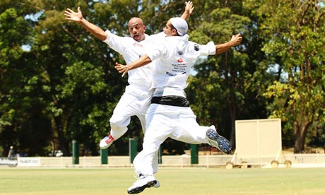 Theo Hayes and Issac Hayes celebrate cricket